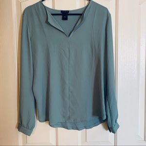 Ann Taylor Dusty teal chiffon/ knit blouse